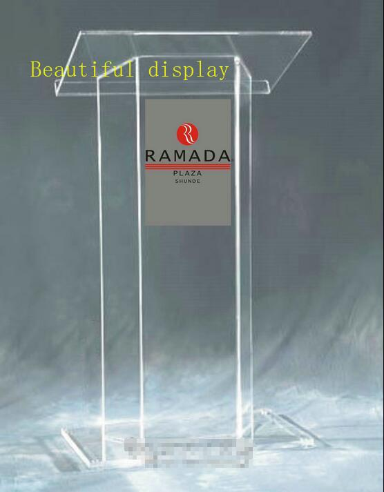 Free Shipping Modern Acrylic Podium With Clear Surface Tubes, Custom Podium Church Size