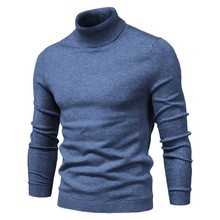 2020 New Winter Men Turtleneck Sweater Casual Solid Color Warm Pullover High Quality Slim High Neck Long Sleeve Sweater Men