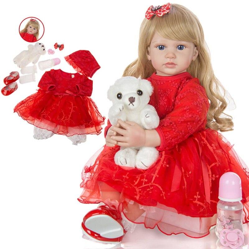 24 polegada 60cm elegante reborn bebe menina boneca vinil macio pano vermelho corpo silicone bebe atacado