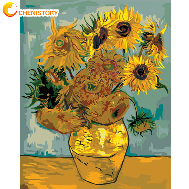 CHENISTORY Frame Van Gogh Sunflower DIY Painting By Numbers Wall Art Picture By Numbers Acrylic Canvas Home Decors Diy Gift Arts