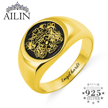 AILIN 925 Sterling Silver Gouden Ring Men 18K Gold Plated Custom Signet Ring Personalized Engraved Jewellery Family Crest Stamp kingsman the secret service custom signet rings for men women 925 sterling silver gold color jewelry customize free engraving