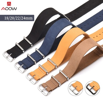 AOOW Genuine Leather ZULU Watchband Strap NATO Watch Strap 18mm 20mm 22mm 24mm Black Buckle Watch Accessories High Quality цена 2017