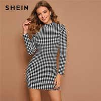 Shein preto e branco mock neck houndstooth impressão bodycon vestido feminino primavera outono manga longa elegante lápis vestidos cabidos