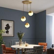 Modern Simple Nordic Chandelier Glass Ball Single Head Creative Restaurant Living Room Hotel Bedroom Bedside Copper Chandelier