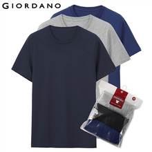 Giordano Мужская футболка с короткими рукавами, 3 пары футболок, однотонная хлопковая футболка, летние мужские топы, одежда футболка мужская 01245504