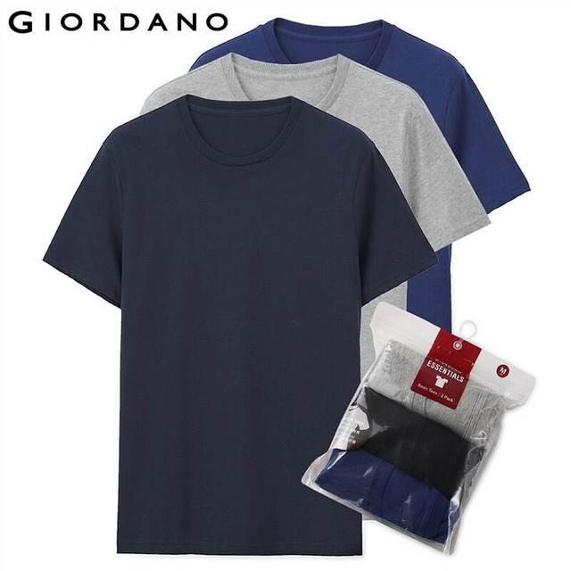 Giordano mężczyźni T koszula bawełniana z krótkim rękawem 3 pack Tshirt jednolita koszulka letnia oddychająca męska bluzka odzież Camiseta Masculina 01245504