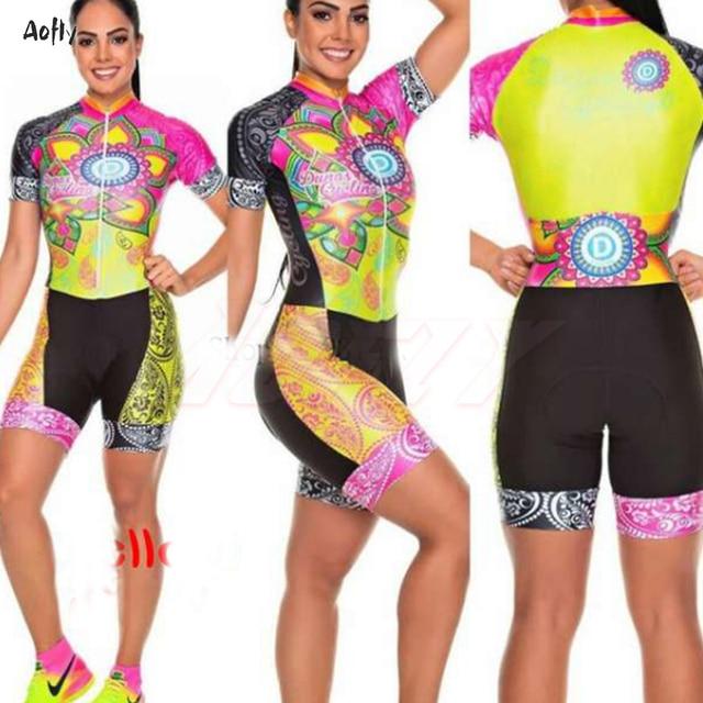 Bicicleta de estrada roupas femininas ciclismo roupas sexy macacão colômbia lycra triathlon esportes skinssuit ropa de ciclismo crânio flores 3