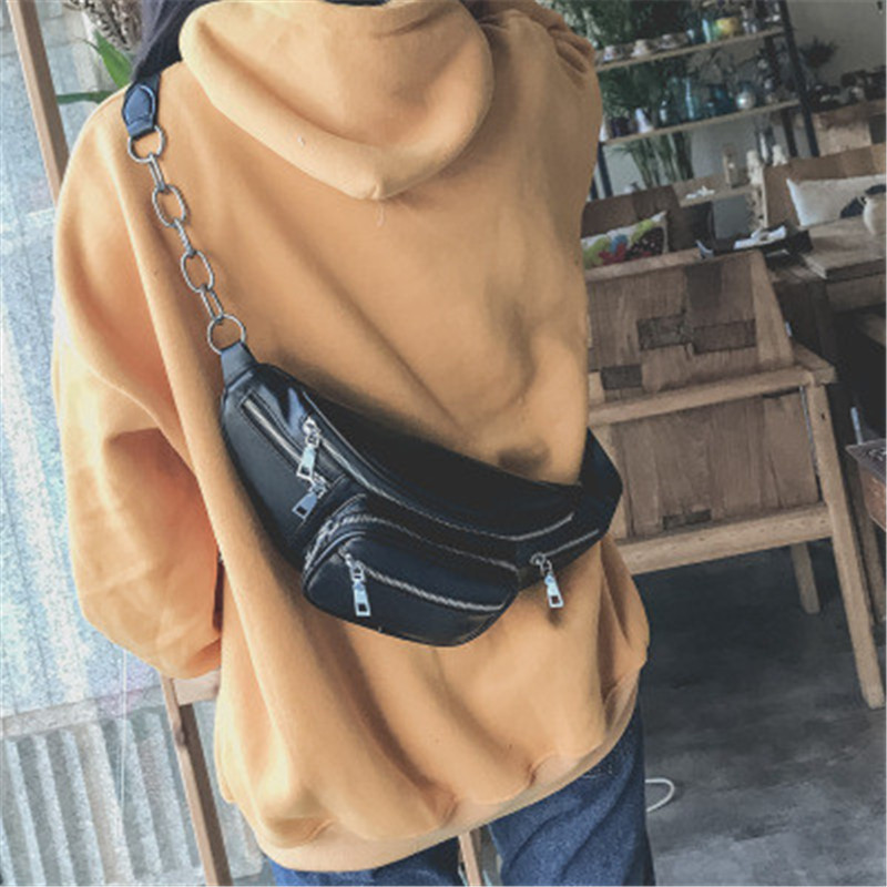 Black Faux Leather Waist Bag Cell Phone Belt Bag Fanny Pack Bum Bag For Women Men Chain Fanny Pack Belly Bag Fast Shipping
