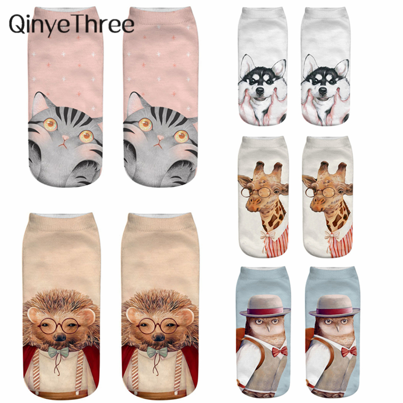 Cute 3D Printed Cartoon Animal Socks Women Happy Socks Unisex Meias Funny Pet Cute Owl Giraffe Hedgehog Dog Cat Fox Novelty Gift