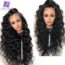 Pelucas de cabello humano con encaje frontal para mujer, peluca de cabello humano peruano sin pegamento, ondulado, 13x4, prearrancado, nudos blanqueados, LUFFY, 180%