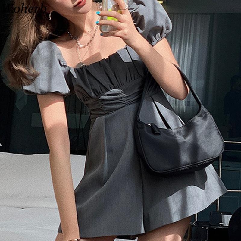 Woherb Womens Jumpsuit Korean Clothes Sweet Slim Fit Ruffles Bodysuit Puff Sleeve Ruffles Rompers Wide Leg Short Pants Playsuit