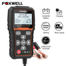 Analisador do verificador da bateria de foxwell bt705 12v 24v para caminhões de carros 100 2000 cca verificador da carga da bateria cranking e teste de carregamento do sistema