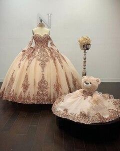Блестящее бальное платье цвета шампань, Quinceanera, платья с отсоединяемыми рукавами, с аппликацией из пайеток, вечернее платье 16, 2020