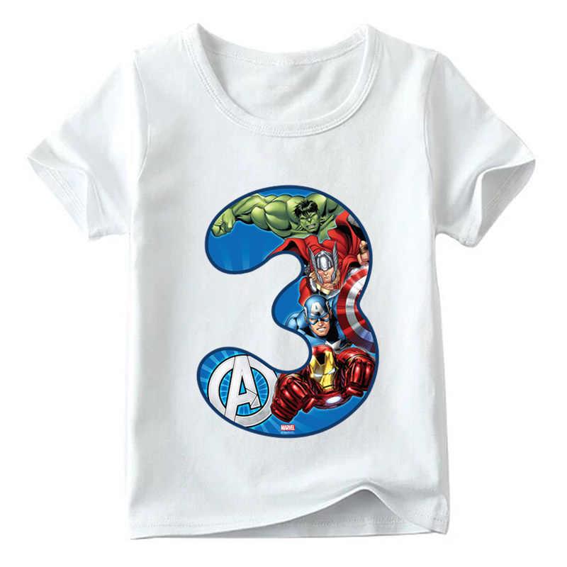 เด็กชายหญิง Super Hero Avengers T เสื้อเด็กการ์ตูนเสื้อยืดขนาด 1 2 3 4 5 6 7 8 9 วันเกิดเสื้อผ้าเด็ก Tees