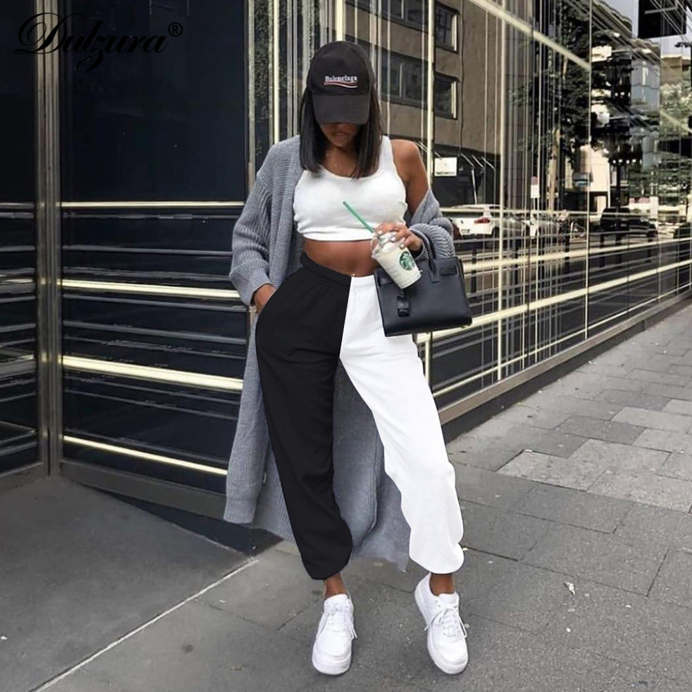 Dulzura Women Sweatpants High Waist Cargo Pants Patchwork Streetwear Loose Jogger Trousers 2019 Autumn Winter Clothes Sportswear