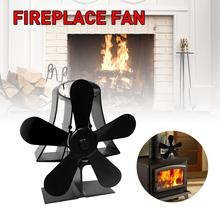 Black Wall Mounted 5 Blades Heat Fireplace Stove Fan Heat Powered For Burner Wood komin Eco-Friendly Quiet Fan Heat Distribution цена и фото