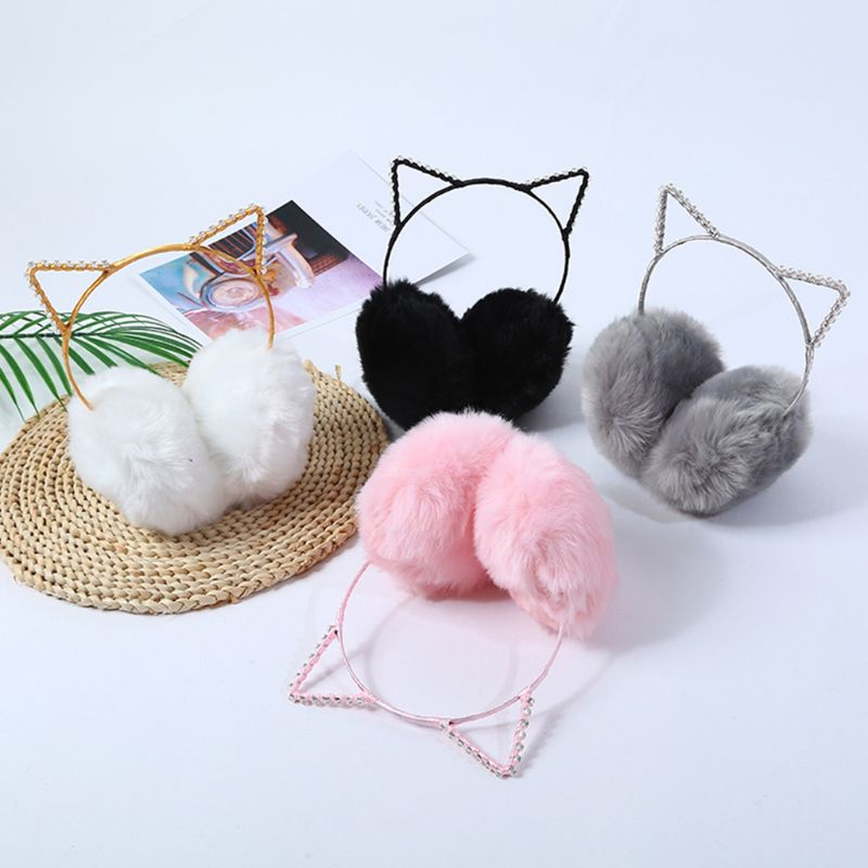 Women Girls Winter Thicken Plush Earmuffs Cute Rhinestone Cat Ears Headband Elastic Ear Warmer Birthday Cosplay Party Headwear