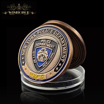 2021 nowojorski departament policji brązowe monety wojskowe brązowe wyzwanie monety armii z okrągłym plastikowym pudełkiem do kolekcji tanie i dobre opinie Wishonor CN (pochodzenie) Pozłacane Nowoczesne Galwanicznie 2000-Present Patriotyzmu 24K Bronze Zinc Alloy Promotional Gifts Souvenir Business Gifts