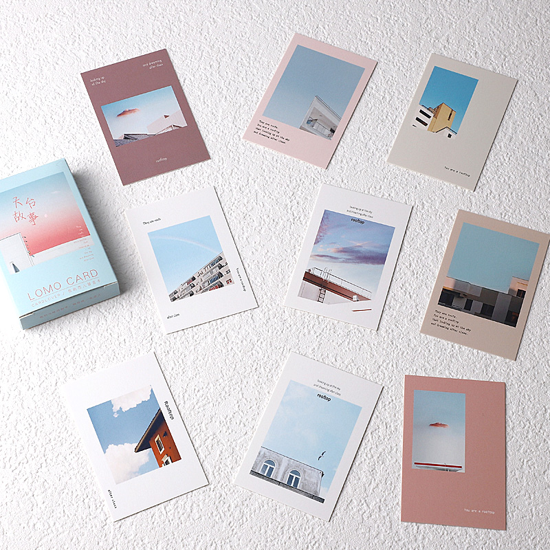 28 Sheets/Set Creative Roof Story Series Lomo Card Cartoon Mini Postcard Message Card Christmas Gifts