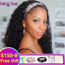 변태 곱슬 머리띠 가발 인간의 머리카락 180% 밀도 저렴한 인간의 머리 가발 흑인 여성을위한 Glueless 브라질 레미 헤어 가발 30 인치