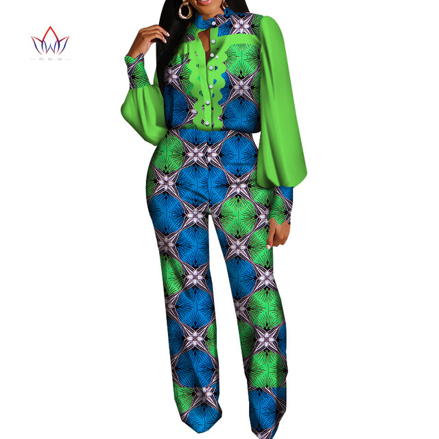 2 piece sets womens outfit Full Sleeve African Traditional Wear for Women Long Pants Bazin Riche Party Plus Size For Lady WY5899