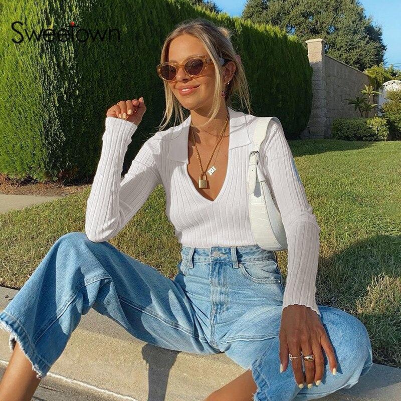 Sweetown-Top corto básico de manga larga para Blanco sólido, camisa de estilo a la moda coreana, Tops informales de punto, ropa de calle de otoño 2020