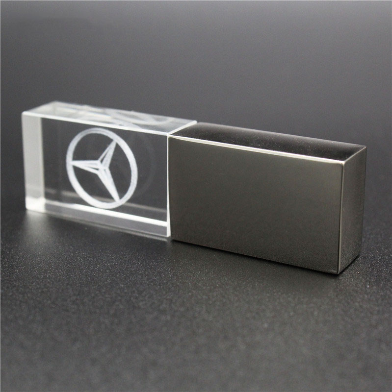 64GB Crystal+metal M Ercedes Kye Model USB Flash Drive 4GB 8GB 16GB 32GB Precious Stone Pen Drive Special Gift