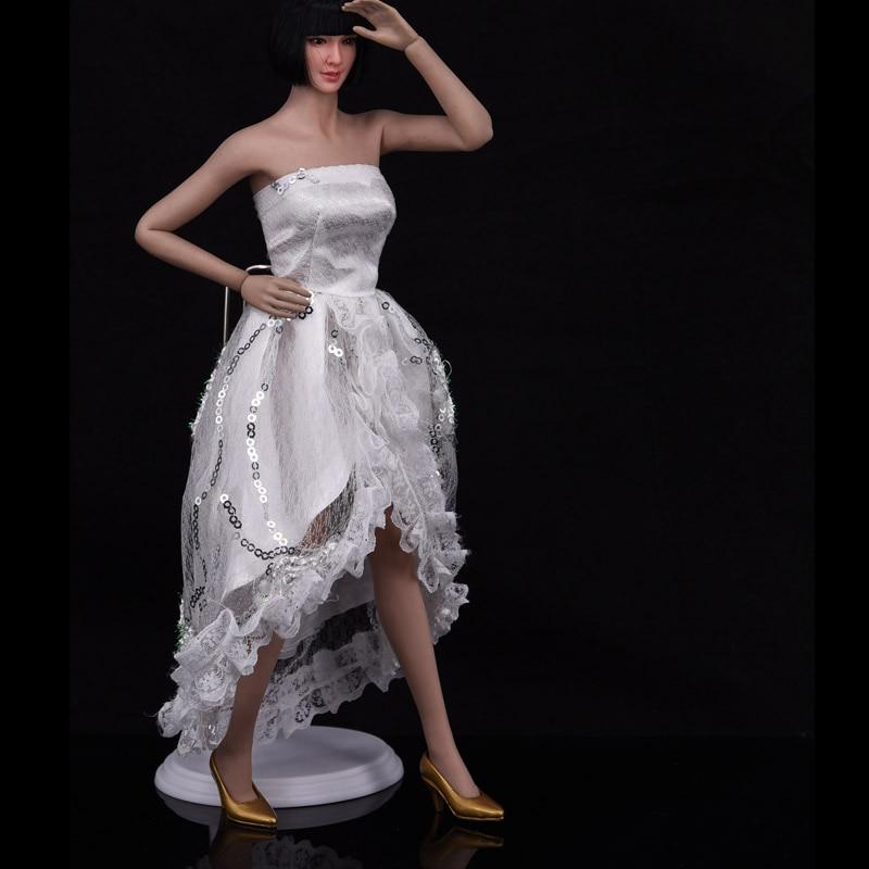 1//6 Female White Ballet Skirt Evening Dress Wedding Clothes Fit 12/'/' Ph Body