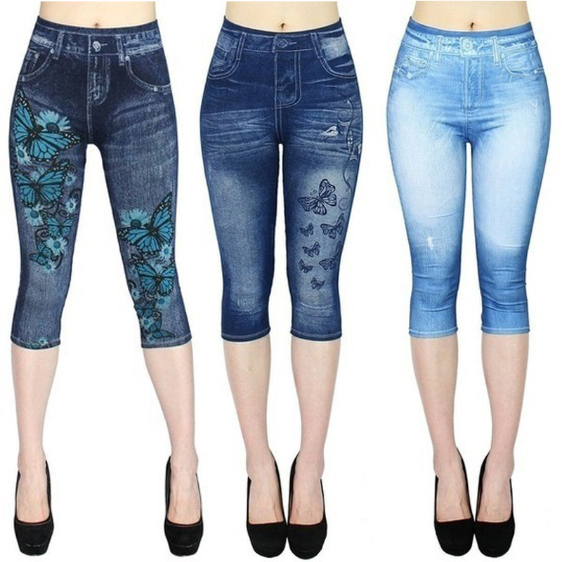 lovever Womens Classic High Waist Denim Fake Jeans Floral Print Leggings