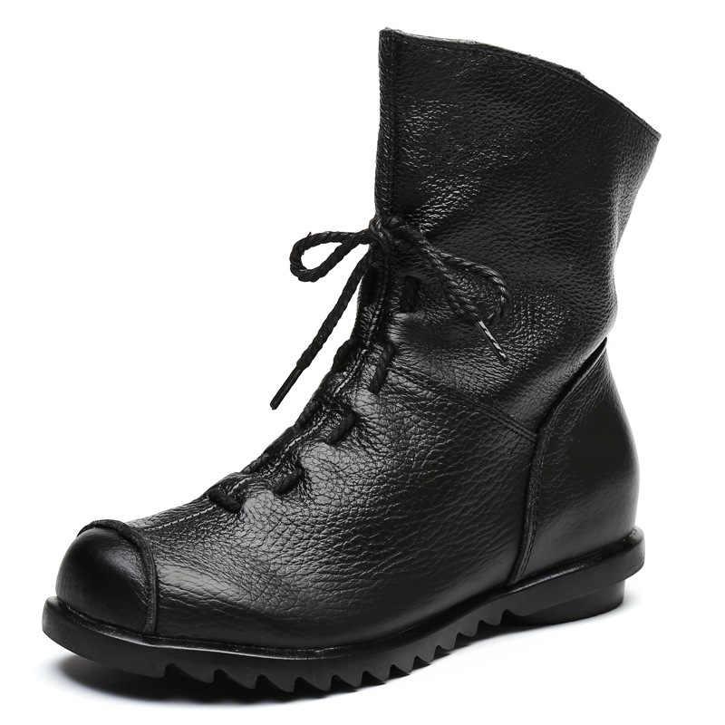 Hakiki Deri Çizmeler Kadın Flats Sıcak Botlar bağcıksız ayakkabı Kadınlar için Kış Alçak topuklu Bayan Botları Martin Çizmeler Retro