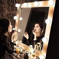 Светодиодный светильник-зеркало для макияжа 5 В, голливудский туалетный светильник, бесступенчатая настенная лампа с регулируемой яркость...