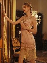 Женская шелковая ночная рубашка в стиле ретро, с v образным вырезом и кружевом, длинное тонкое элегантное ночное платье для весны и лета