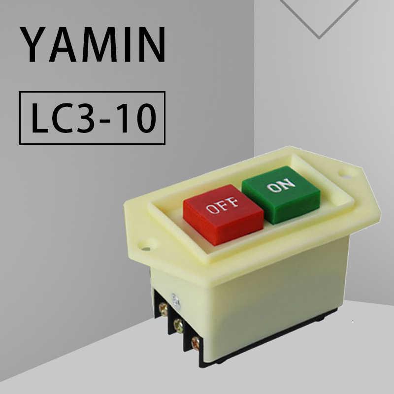 P101 Máy Khoan Bàn Khởi Động Nút Bấm LC3-10 380V 10A Đá Mài Cắt Cưa Máy Xay Thịt Công Tắc