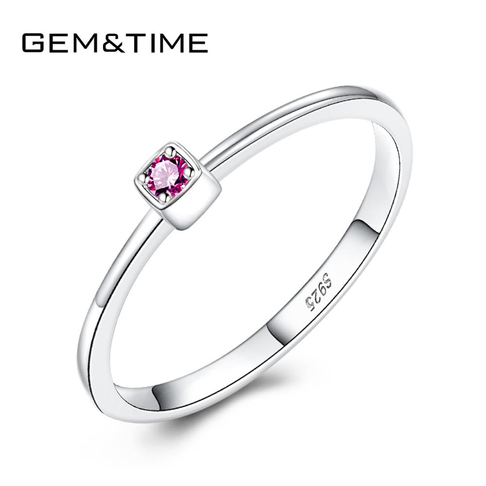 Gem&Time Real Sterling 925 Silver Blue Ruby Topaz Rings For Women Gemstone Engagement Rings Silver 925 Jewelry Anillos Mujer