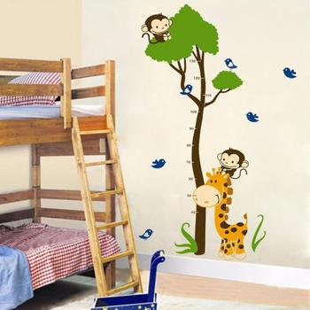 Child Height Wall Sticker Kids Height Growth Chart Giraffe Height Chart Decal Height Measurement Chart Wall Decals for Kids Room image