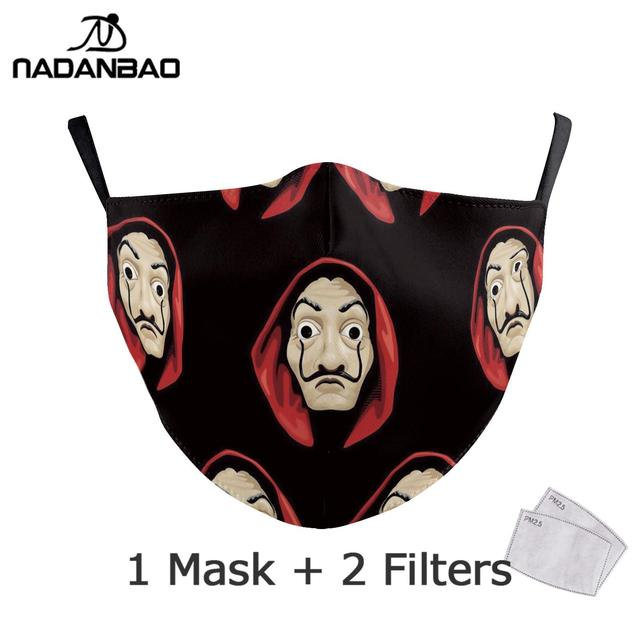 NADANBAO La Casa De Papel Mouth Mask Kid Cosplay Costume Adult Black Face Reusable Mask Print Washable Fabric Masks Cosplay Face 2