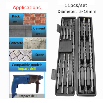 11pcs Carbide Electric Drill Bits For Concrete Stone Impact Metal Drill Bit Round Grip Drills Bit Set with Storage Box