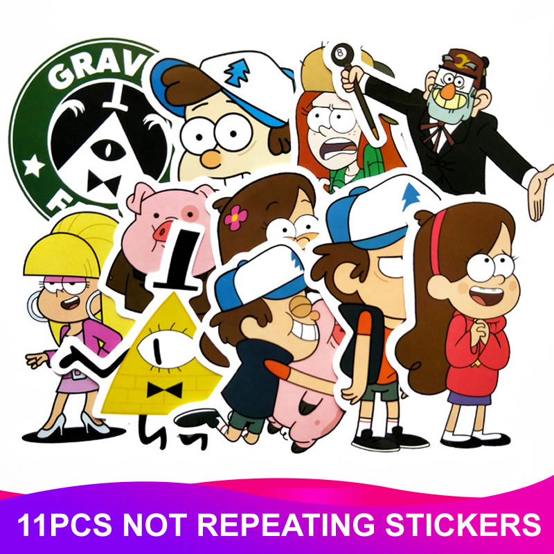 11Pcs/Lot Anime Gravity Falls Stickers Waterproof Skateboard Travel Luggage Motorcycle Laptop Graffiti Funny Sticker Kids Toy