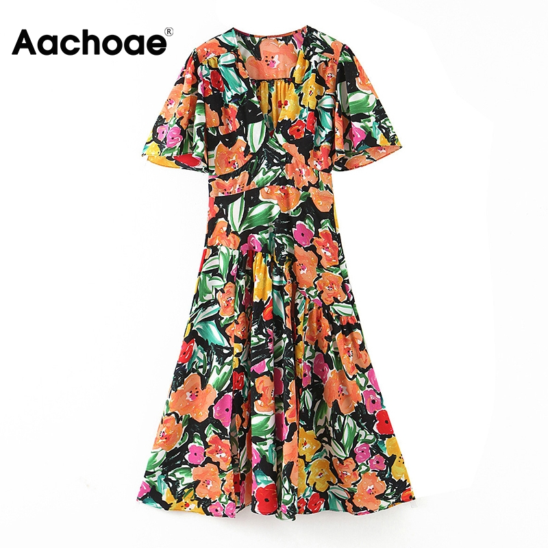 Aachoae Vintage A Line Printed Dress Women Short Sleeve Colorful Summer Dress Ladies V Neck Casual Midi Dresses Vestidos 2020