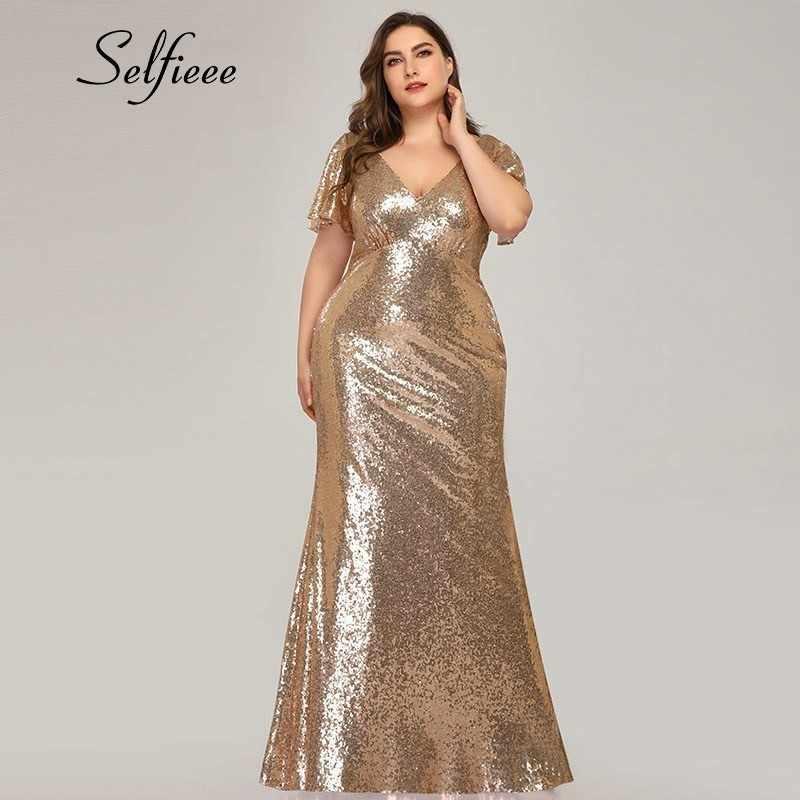 Plus Size Rose Gold Mermaid Women Dresses Short Sleeve ...