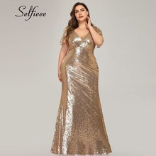 Grande taille Rose or sirène femmes robes à manches courtes paillettes col en v moulante élégant Maxi robes pour fête Robe Femme 2020