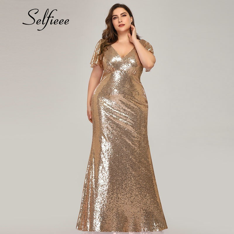 Plus Size Rose Gold Mermaid Women Dresses Short Sleeve Sequined V-Neck Bodycon Elegant Maxi Dresses For Party Robe Femme 2020