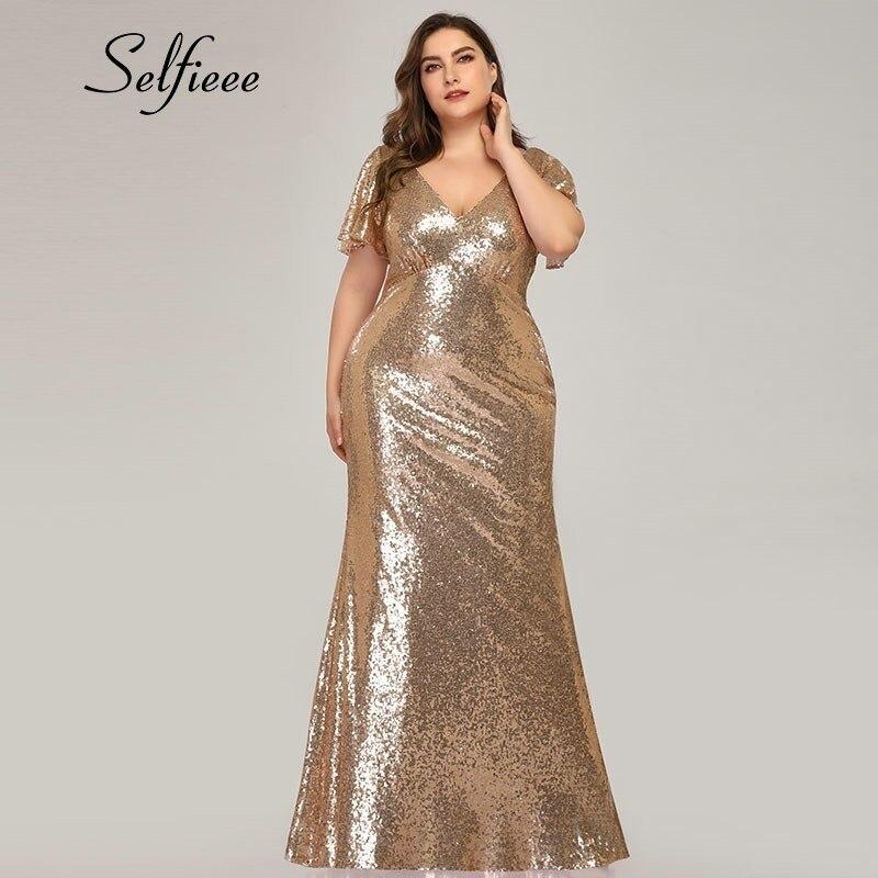 Plus Size Rose Gold Mermaid Women Dresses Short Sleeve Sequined V-Neck Bodycon Elegant Maxi Dresses For Party Robe Femme 2020
