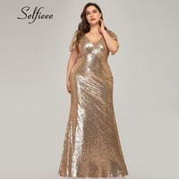 Plus Size Rose Gold Mermaid Women Dresses Short Sleeve Sequined V Neck Bodycon Elegant Maxi Dresses For Party Robe Femme 2019