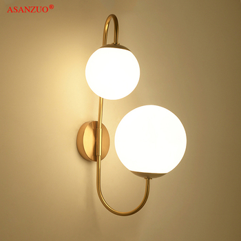 Modern Gold Wall Lamp Foyer Bedroom Bedside Corridor Loft Wall Sconce Bean Glass Ball Wall Light LED Round Ball Wall Lamp loft style clear glass wall lamp black metal glass ball wall light bedroom light dining room light free shipping