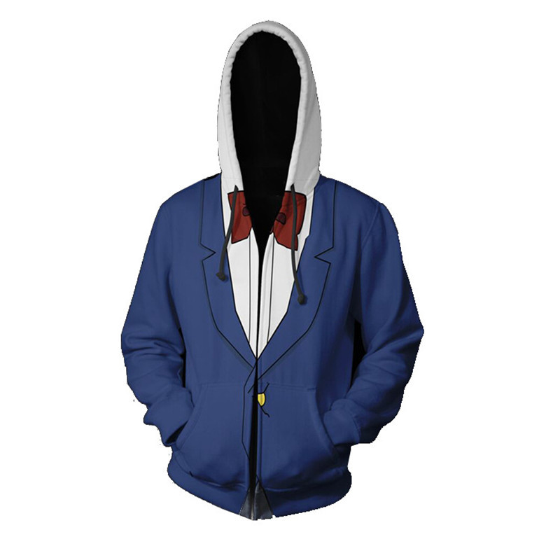 Men Boys Anime Detective Conan Cosplay Hoodie Zipper Hooded Sweatshirts Fashion Conan Clothes Jackets Tops Uniforms