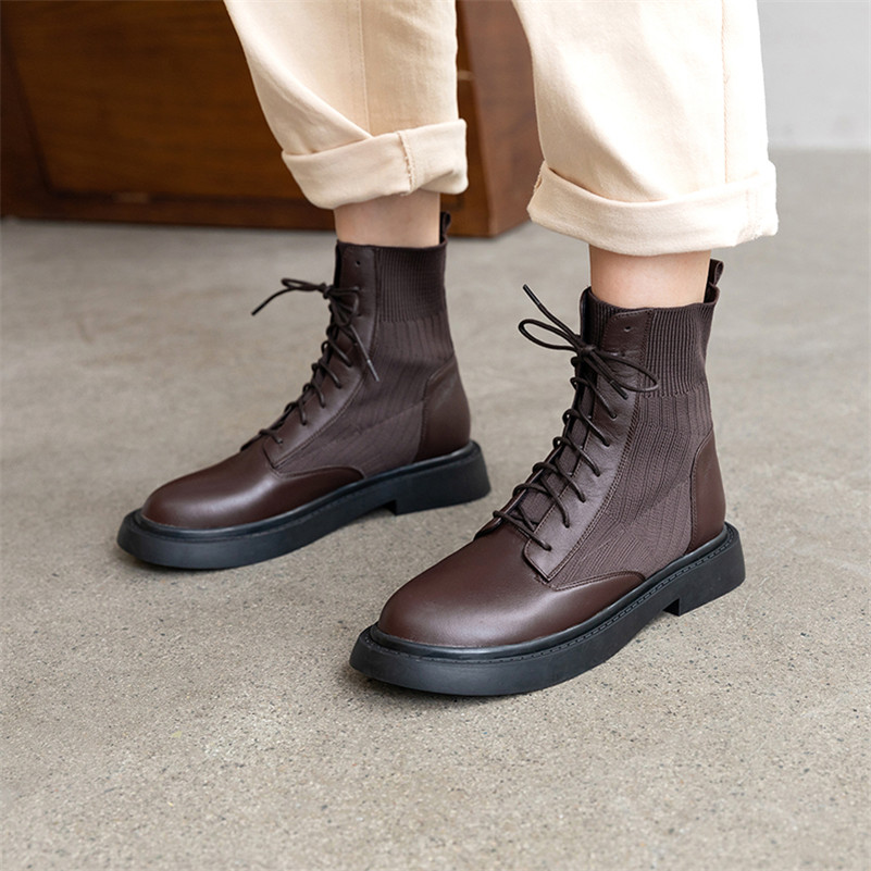 Image 5 - FEDONAS New Patchwork Genuine Leather Knitting Short Boots Women Ankle Boots Office Shoes Woman 2020 Winter Warm High Heels-in Ankle Boots from Shoes