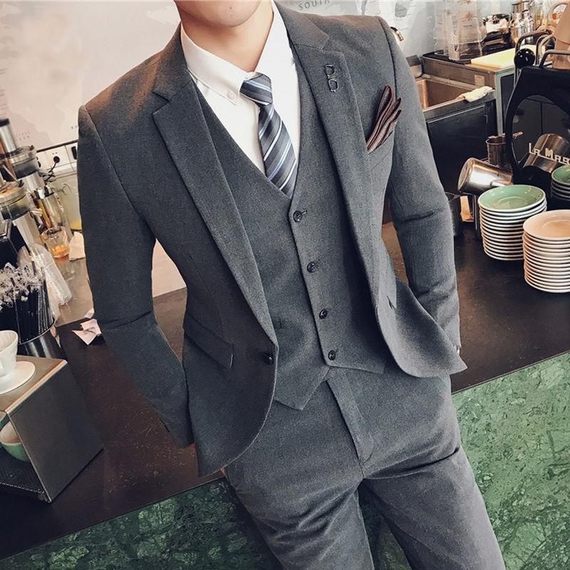 Suit Suit Men's Casual Solid Color Small Suit Korean Version Slim Formal Dress Groom Handsome Wedding Dress Trend