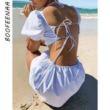BOOFEENAA abito estivo Vintage in cotone 2021 bianco nero aperto indietro collo quadrato gonfio manica corta ritagliata Mini abito C92-CB19