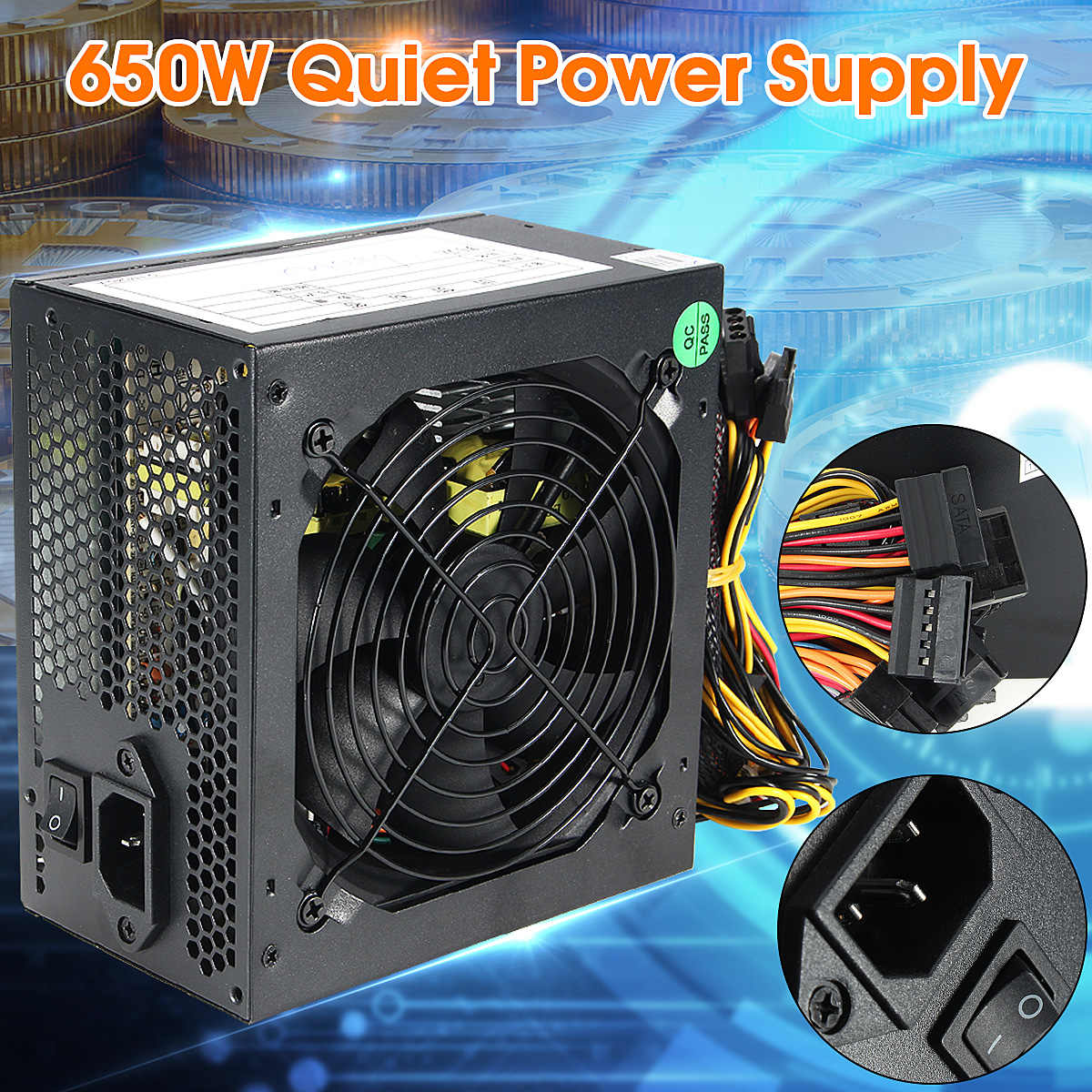 600W PC PSU Power Supply Hitam Gaming Tenang 120 Mm Fan 20/24pin 12V ATX Komputer Baru power Supply untuk BTC